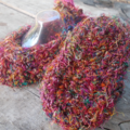"crochet baby shoes ""dancing feet"" made from sari silk yarn ON SALE!!!"
