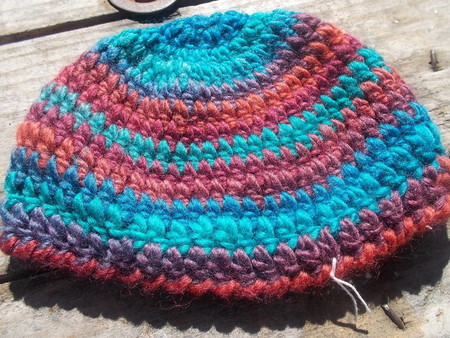 crocheted cloche made from pure wool and soy blend yarns