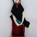 Frida Soft Doll , pompom flowers , black and red, bird, handmade