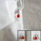 Wire wrapped Glass cube earrings ( Red & Clear , Chic Modern Art deco Minimal )
