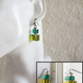 Wire wrapped Glass cube earrings ( Green , Chic Boho Hippie Woodland Gypsy Cute)