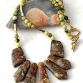 Earthty tone SEA SEDIMENT JASPER and Pyrite Golden tone Chic Tribal Necklace.