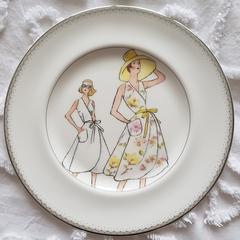 Hand painted bone china plate  waterford featuring sewing pattern ladies