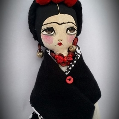 Frida Soft Doll , pompom flowers , black and red, bird, handmade