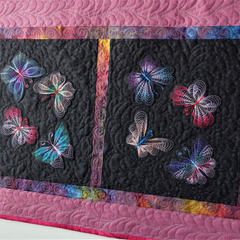 Patchwork, quilted, embroidered butterflies, table runner, wall hanging