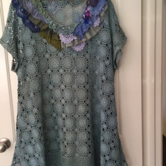 Plus size vintage lace bead embellished tunic Dress 22 - 24