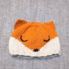 baby beanie - fox / organic merino / unisex newborn - 4 months