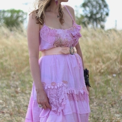 Bohemian dress, Boho chic dress, A line pink dress, Embroidered dress