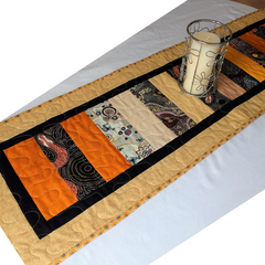 Aboriginal art fabric long patchwork table runner, table decor