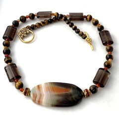 Genuine AGATE, Tiger's Eye, Smoky Crystal  Necklace.