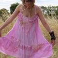 Bohemian dress, Boho chic dress, A line pink dress, Embroidered dress