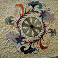 Quilted Embroidered Patchwork Table Topper Jacobean Embroidery Earthy Decor Embr