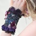 Purple Beaded cuff,  goth or Boho cuff Purple cuff bracelet
