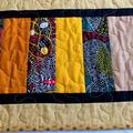 Aboriginal art fabric long patchwork table runner, table decor
