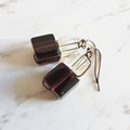 Wire wrapped Glass cube earrings ( Purple & Clear , Chic Modern Art deco Retro )