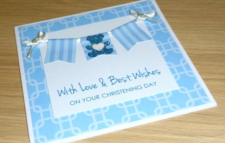 Christening Day Card - bunting with teddy bear