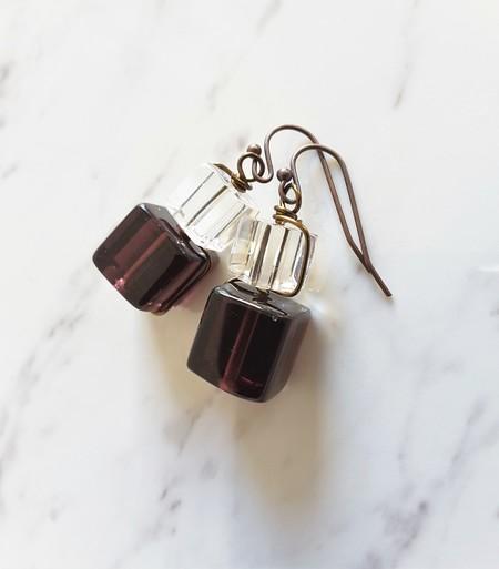 Wire wrapped Glass cube earrings ( Purple & Clear , Chic Modern Art deco Retro )