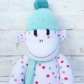'Izzy' the Sock Monkey - white with spots - *READY TO POST*