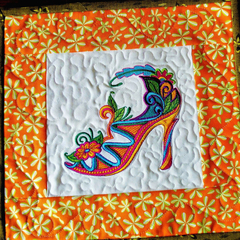 Embroidered fancy shoe place mat, art quilt, candle mat, Mardi Gras shoe