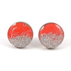 Painted wooden earrings - red with silver glitter