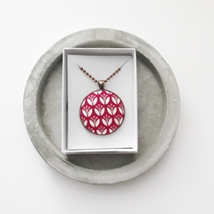 Red Floral Copper Pendant Necklace