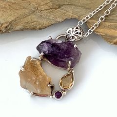 Raw Natural CITRINE and AMETHYST, 925 Sterling Silver, Pendant with Silver Chain