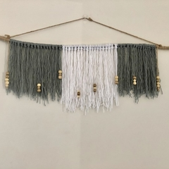 Wall hanging  Grey and white with beads