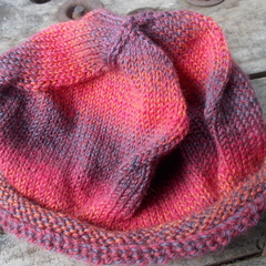 "pure wool beanie ""four corners hat"" original hand knit."