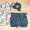 Size 4 - Smock Top - Cream Floral - Organic - Cotton -