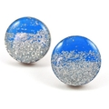 Painted wooden earrings - dark blue with silver glitter