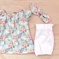Size 4 - Smock Top - Cream Floral - Organic - Cotton -