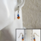 Mini cut glass bead drop earrings ( Pale blue Blue Brown , Chic Modern Simple )