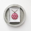 Red Floral Copper Pendant Necklace