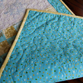 Christmas quilted table runner, Embroidered snow flakes,  light blue and white