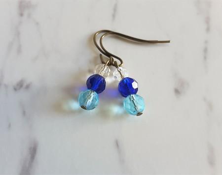Mini cut glass bead drop earrings (Clear Blue Sky blue , Minimal Antique Cool )