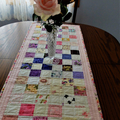 Patchwork Quilted pink and white floral table runner