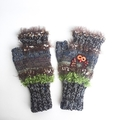 Embellished knit women's fingerless gloves with embroidered and beaded owl motif