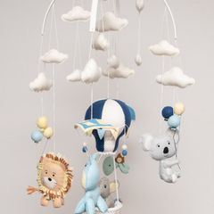Hot Air Balloon, ~ Elephant, Hippo, Lion, Turtle & Koala,  Baby Mobile