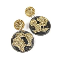Gold and black circle dangles