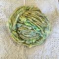 handspun art yarn, Merino Silk, yellow green chunky,  handspun yarn 200gr