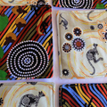 Quilted Aboriginal fabric coasters, mixed set of 6,  gift idea