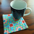 Quilted fabric coasters set of six, drink mats, aqua and pink floral reversible