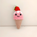 Ice cream crochet, food dessert, strawberry ice-cream, christmas gift toy