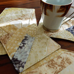 Quilted fabric coasters set of six, drink mats, neutral creams,  reversible coas