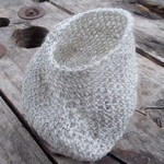 Crocheted vessel made from wire and raw silk