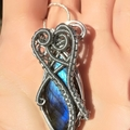 Blue Flash Labradorite Heady Pendant , Gemstone Jewelry , necklace , wire wrap