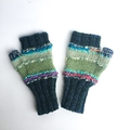 Embellished knit women's fingerless gloves. Green with bead and felt flowers.