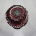 Hat handmade red/grey crocheted wool/acrylic beret style