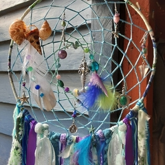 Dream Catcher Mermaid Beach Amethyst Purple Turquoise Aqua Starfish Seahorse