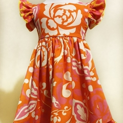 'Isobel' - size 2 orange, yellow, pink and white large floral print fabric.